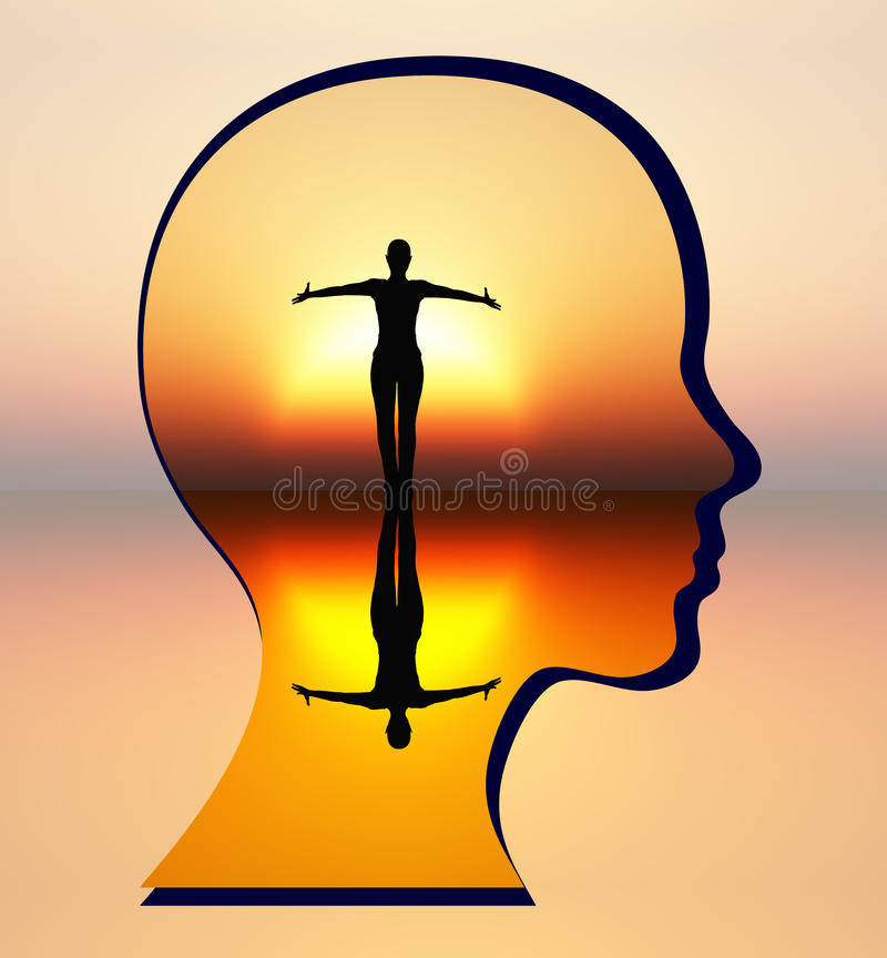 Find Your Inner Peace. Woman silencing her inner critic and achieving inner calm vector illustration