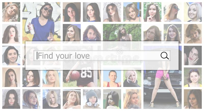 Find your love. The text is displayed in the search box on the b royalty free stock photography