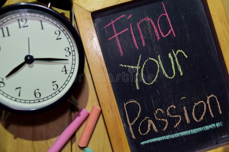 Find Your Passion on phrase colorful handwritten on chalkboard stock image