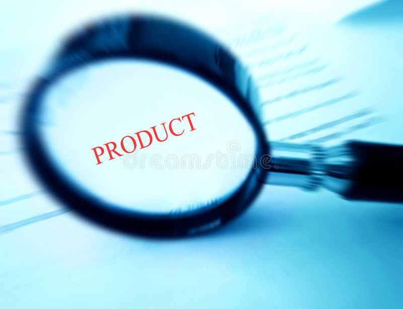 Find your product. Looking for your products - A concept image of a magnifying glass over the word product. Processed to blue monochrome and with red color focus