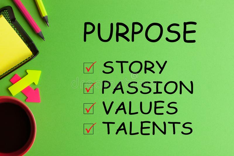 Find Your Purpose in Life. List with conceptual words, cup of coffee and office supplies on green background royalty free stock photography