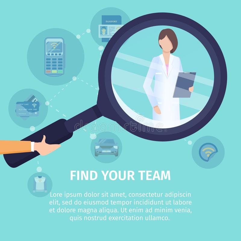 Find Your Team Flat Vector Square Banner Template stock illustration