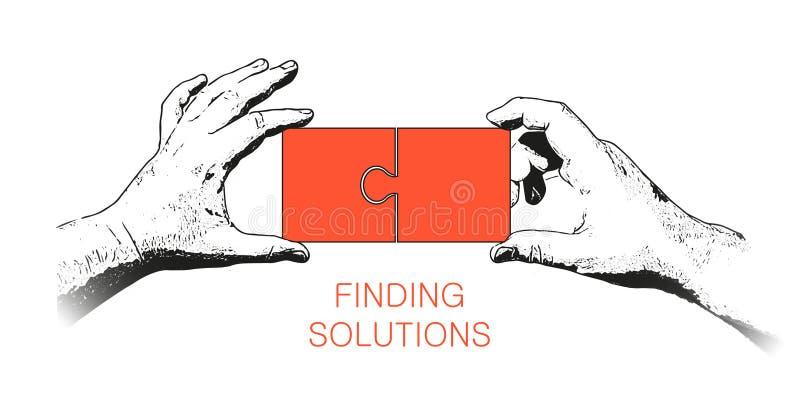 Finden der Lösungs-Netz-Fahne stock abbildung