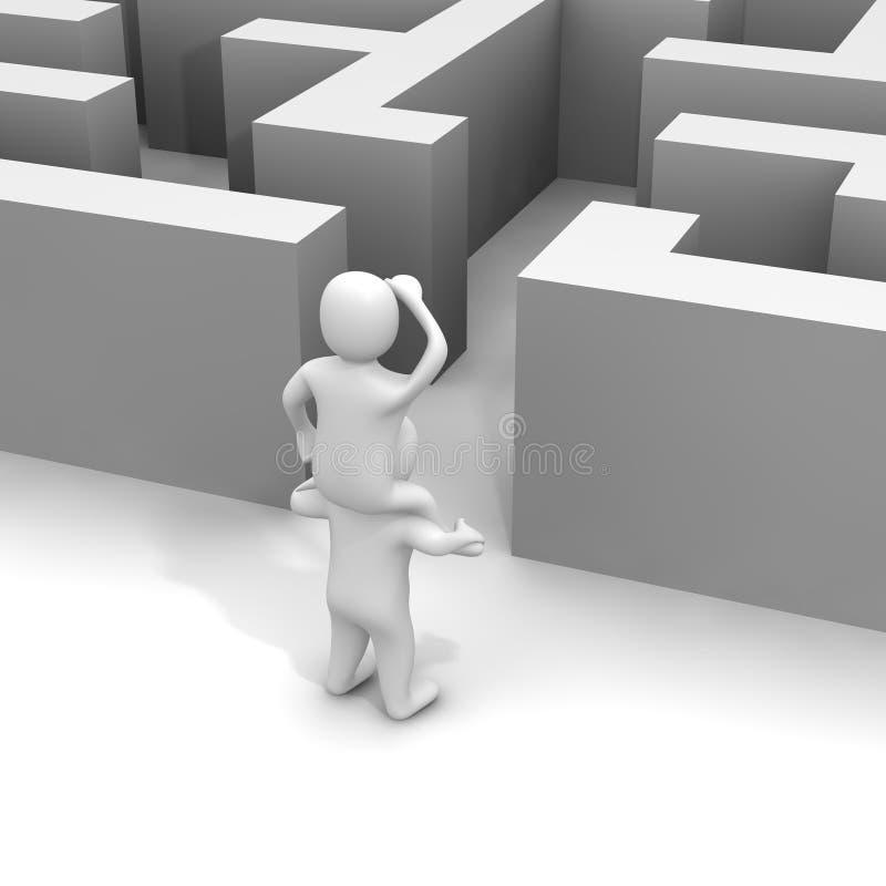 Finden des Pfades durch Labyrinth stock abbildung