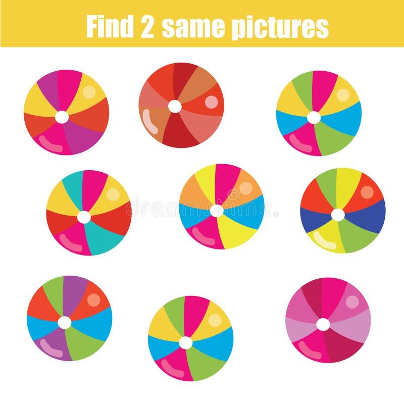 Finden Sie das gleiche Bildkinderlernspiel lizenzfreie abbildung