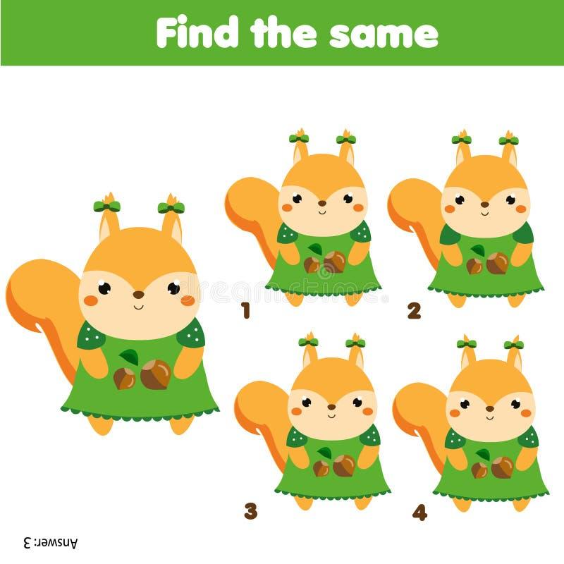 Finden Sie das gleiche Bildkinderlernspiel E vektor abbildung
