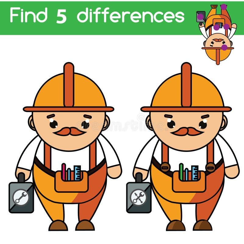 Finden Sie das pädagogische Spiel der Unterschiede Kinder Scherzt Tätigkeitsblatt Berufthema stock abbildung
