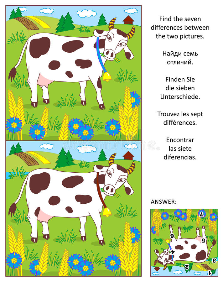 Finden Sie das Unterschiedbildpuzzlespiel mit Milchkuh stock abbildung