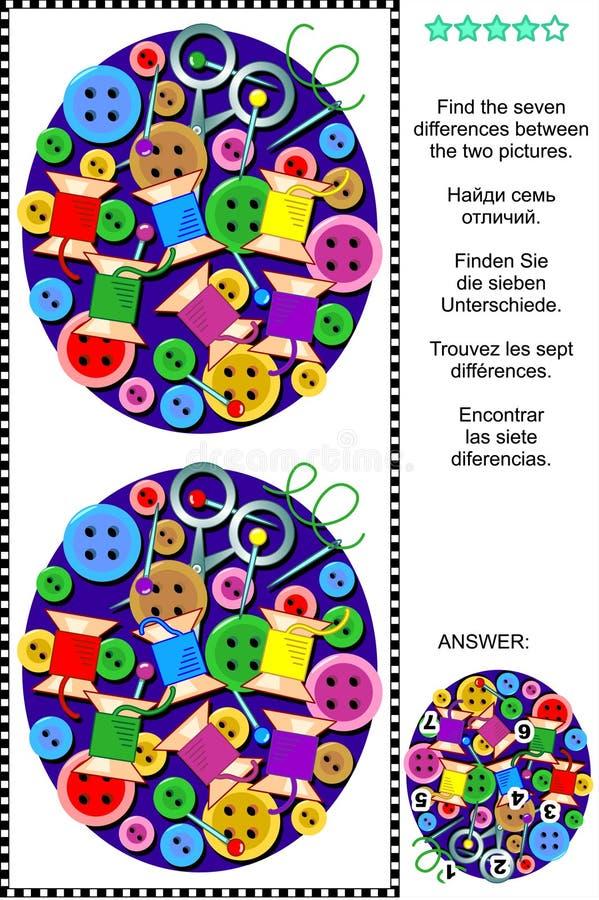 Finden Sie das Unterschiedbildpuzzlespiel - nähende Einzelteile stock abbildung