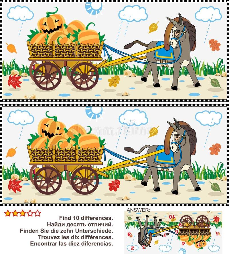 Finden Sie das Unterschiedsichtpuzzlespiel - den Burro, der Warenkorb mit Kürbisen zieht vektor abbildung