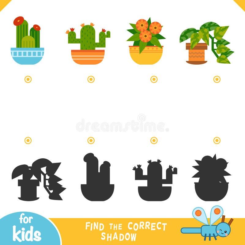 Finden Sie den korrekten Schatten, Ausbildungsspiel, Satz Houseplants vektor abbildung