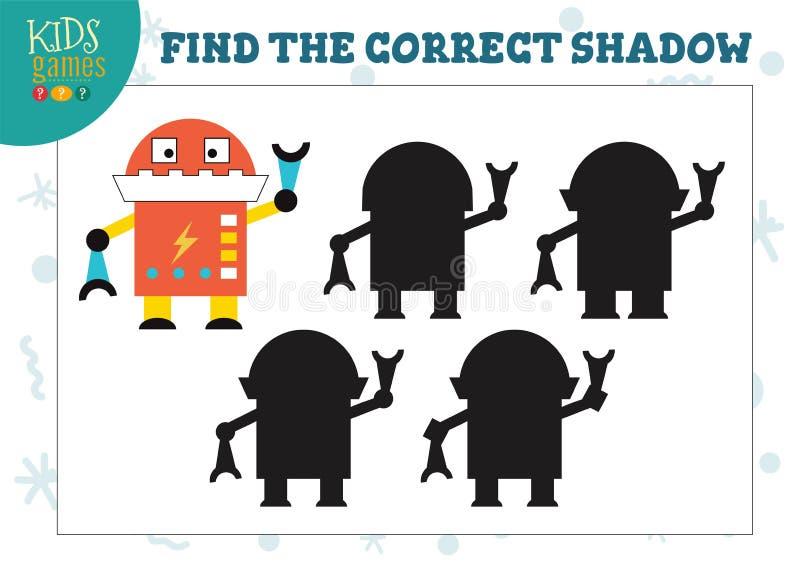 Finden Sie den korrekten Schatten für nette Karikaturroboterpädagogische Vorschulkinderminispiel stock abbildung