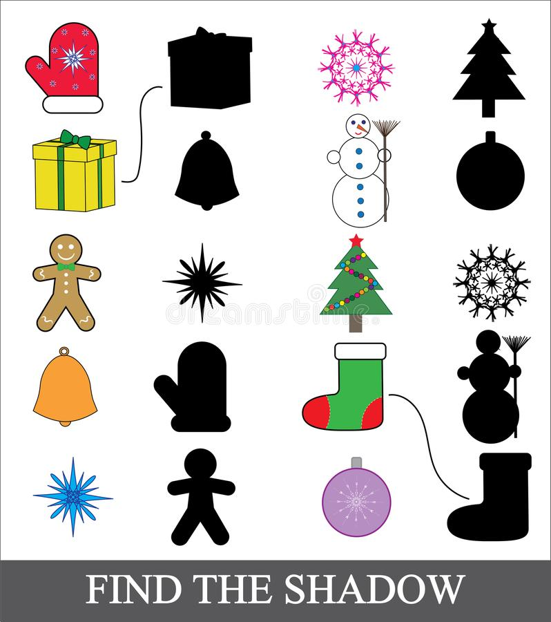 Finden Sie den korrekten Schatten Zusammenpassendes Spiel des Schattens für Kinder Ikonen des Weihnachtsneuen Jahres lizenzfreie abbildung