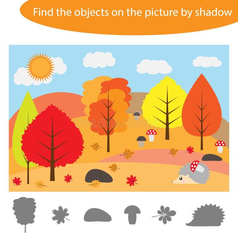 Finden Sie die Gegenstände durch Schatten, Spiel mit Herbstwald für Kinder in der Karikatur, Ausbildungsspiel für Kinder, Vorschu lizenzfreie abbildung