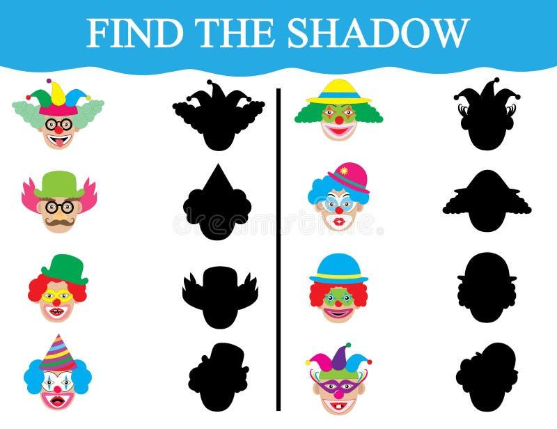 Download Finden Sie Die Schatten Von Clown's Gesichtern Entwicklung Der Aufmerksamkeit Der Kinder Ausbildung Auch Im Corel Abgehobenen B Vektor Abbildung - Illustration von lernen, kostüm: 111215107