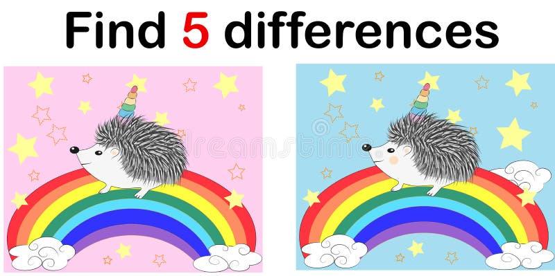 Finden Sie die Unterschiede zwischen den Bildern Kind-` s Lernspiel Ein IgelEinhorn mit einem Regenbogen vektor abbildung