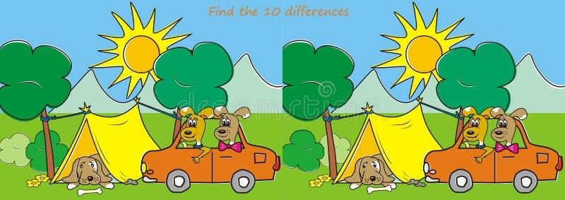 Finden Sie die zehn Unterschiede - Hunde und Zelt vektor abbildung
