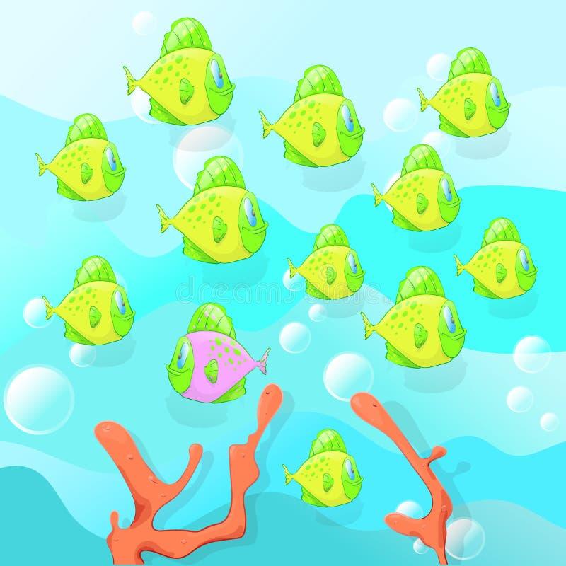Finden Sie einen Fisch, der zu allen unterschiedlich ist, Lernspiel für Kinder, pädagogischer Test, Vektorillustration lizenzfreie abbildung