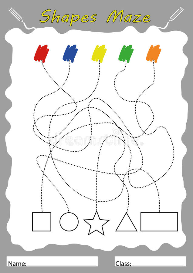 Finden Sie Formen Und Farbe, Arbeitsblatt Für Kinder Stock Abbildung ...