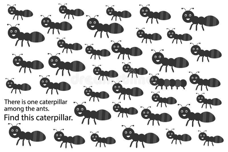 Finden Sie Gleiskettenfahrzeug unter Ameisen, Frühlingsspaß-Ausbildungsrätselspiel für Kinder, Vorschularbeitsblatttätigkeit für  stock abbildung