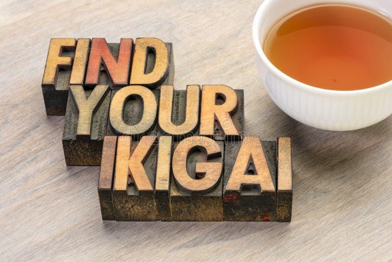 Finden Sie Ihre ikigai Wortzusammenfassung in der hölzernen Art stockbilder