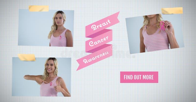 Finden Sie mehr Knopf mit Text auf Brustkrebs-Bewusstseins-Foto-Collage heraus lizenzfreies stockfoto