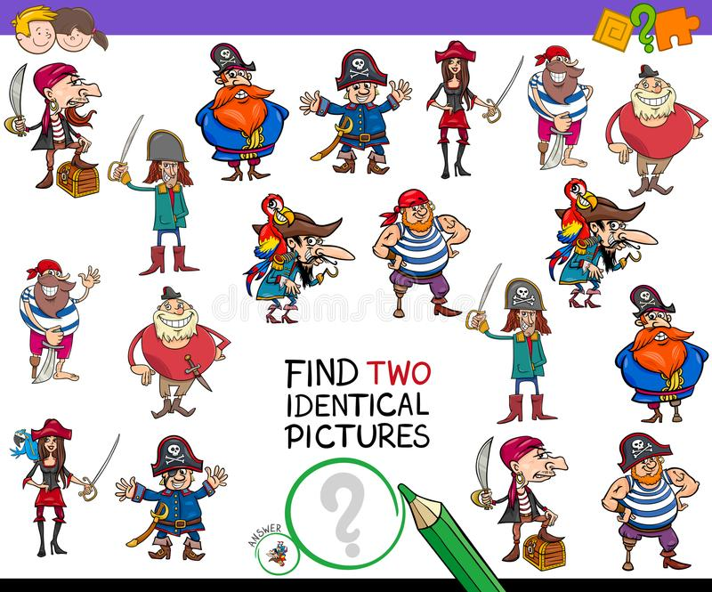 Finden Sie Spiel mit zwei das identische Karikaturpiraten für Kinder vektor abbildung