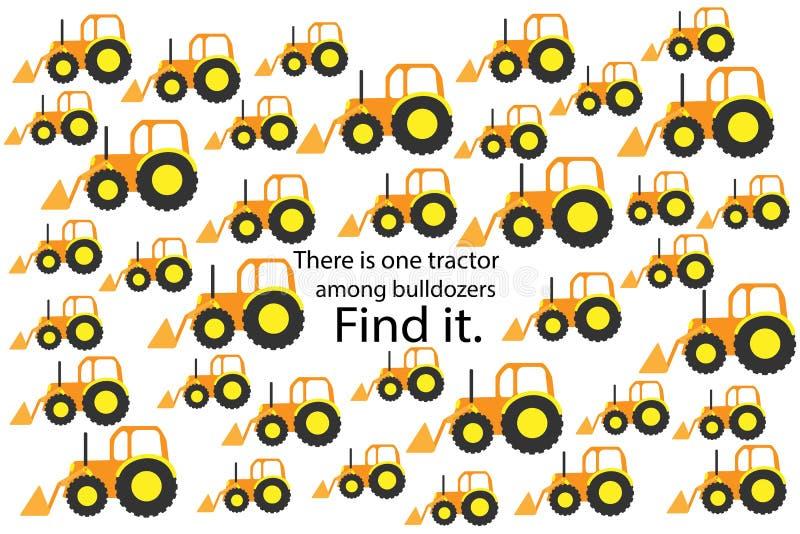Finden Sie Traktor unter Planierraupen, Spaßausbildungsrätselspiel mit Transport für Kinder, Vorschularbeitsblatttätigkeit für Ki vektor abbildung