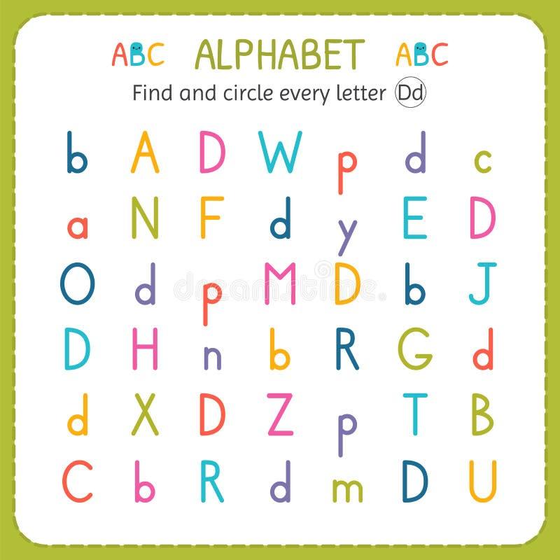 Finden Sie und kreisen Sie jeden Buchstaben D ein Arbeitsblatt für Kindergarten und Vorschule Übungen für Kinder lizenzfreie abbildung