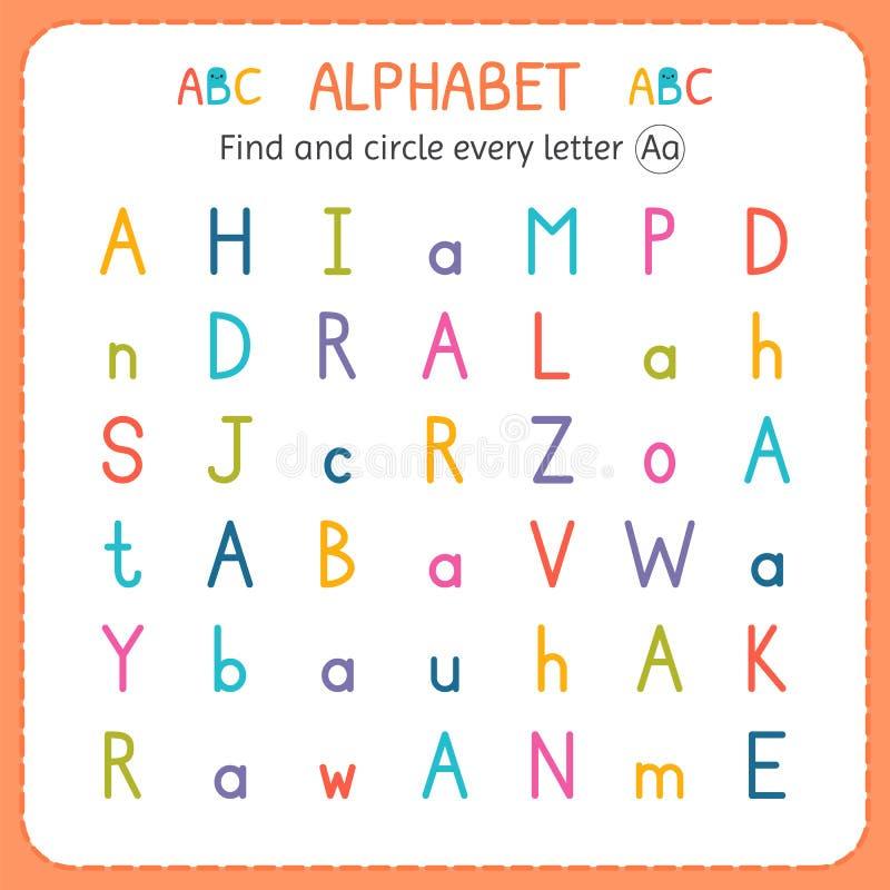 Finden Sie und kreisen Sie jeden Buchstaben A ein Arbeitsblatt für Kindergarten und Vorschule Übungen für Kinder vektor abbildung