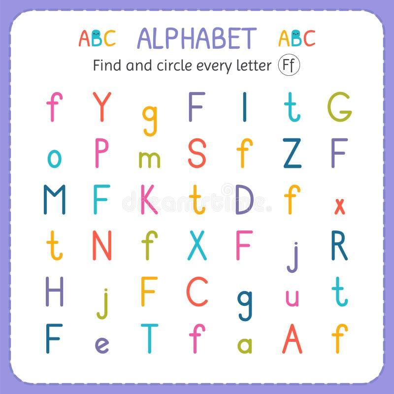 Finden Sie und kreisen Sie jeden Buchstaben F ein Arbeitsblatt für Kindergarten und Vorschule Übungen für Kinder stock abbildung