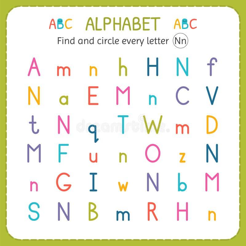 Finden Sie und kreisen Sie jeden Buchstaben N ein Arbeitsblatt für Kindergarten und Vorschule Übungen für Kinder stock abbildung