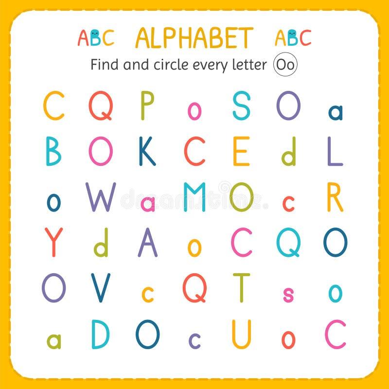 Finden Sie und kreisen Sie jeden Buchstaben O ein Arbeitsblatt für Kindergarten und Vorschule Übungen für Kinder stock abbildung