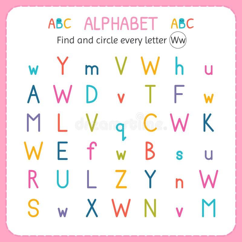 Finden Sie und kreisen Sie jeden Buchstaben W ein Arbeitsblatt für Kindergarten und Vorschule Übungen für Kinder lizenzfreie abbildung