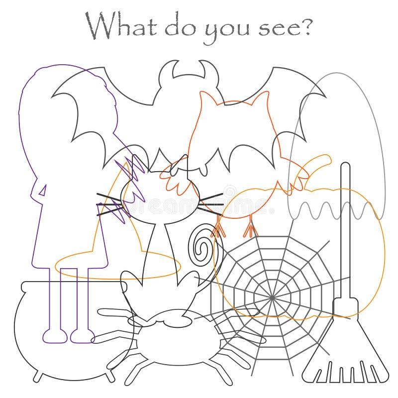 Finden Sie versteckte Gegenstände auf dem Bild, Halloween-Themaeule, Geist, Hexe, Katze, Spinnennetz, Spinne, Mischmaschkonturnsa lizenzfreie abbildung