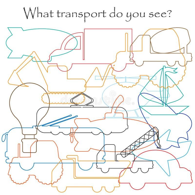 Finden Sie versteckte Gegenstände auf dem Bild, Transportthema, Mischmaschkonturnsatz, Spaßausbildungsspiel für Kinder, Vorschult vektor abbildung