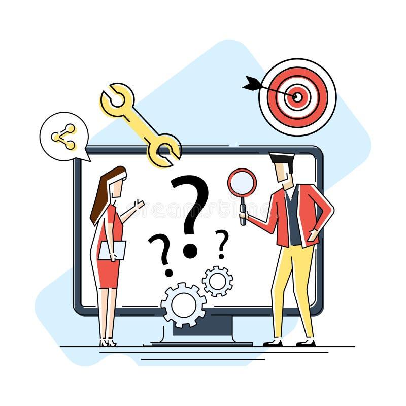 Finden von neuen Ideen L?sen von Problemen Vektorillustrationsfahne Teamwork-Suche nach solutionsMiniature Leuteteam vektor abbildung