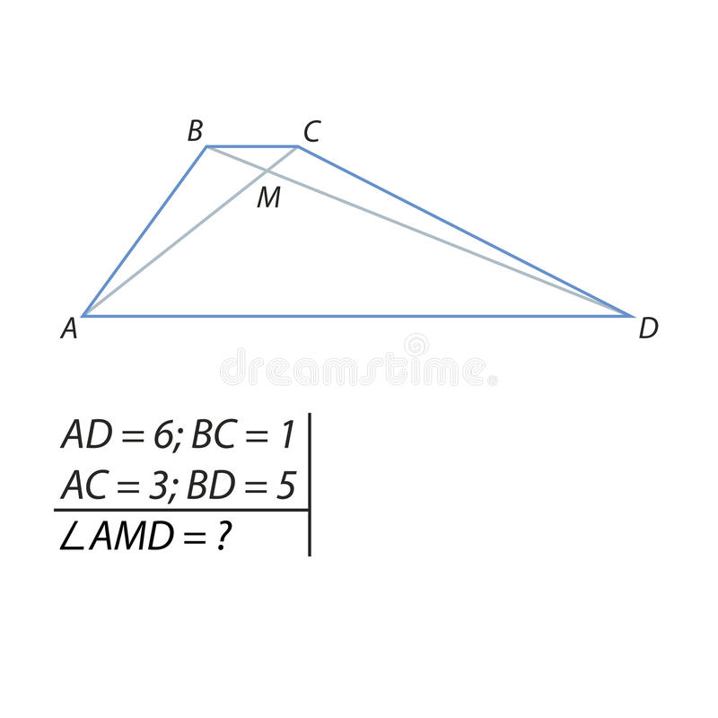 Finding the angles of the intersection point of the diagonals. Vector illustration of the problem of finding the angles of the intersection point of the royalty free illustration