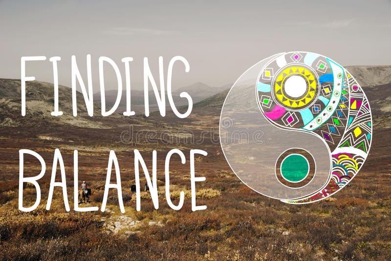 Finding Balance Yin-yang Wellbeing Concept. Finding Balance Yin-yang Chi Wellbeing stock photography