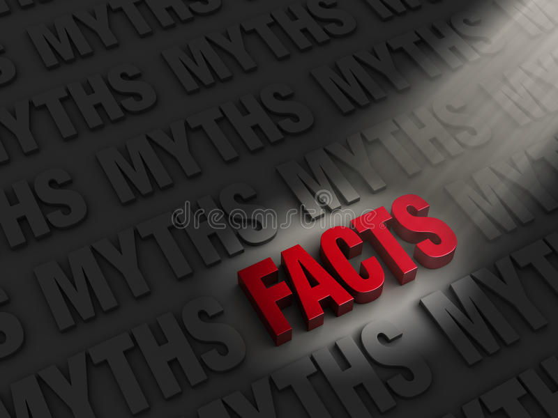 Finding Facts Among Myths. A spotlight illuminates bright, red FACTS on a dark background of MYTHS royalty free illustration