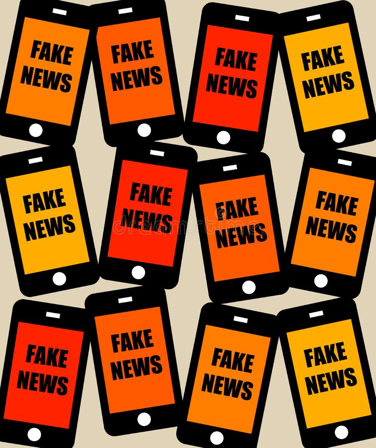 Fake news phone. Finding lots of fake news on your phone or social media newsfeeds stock illustration