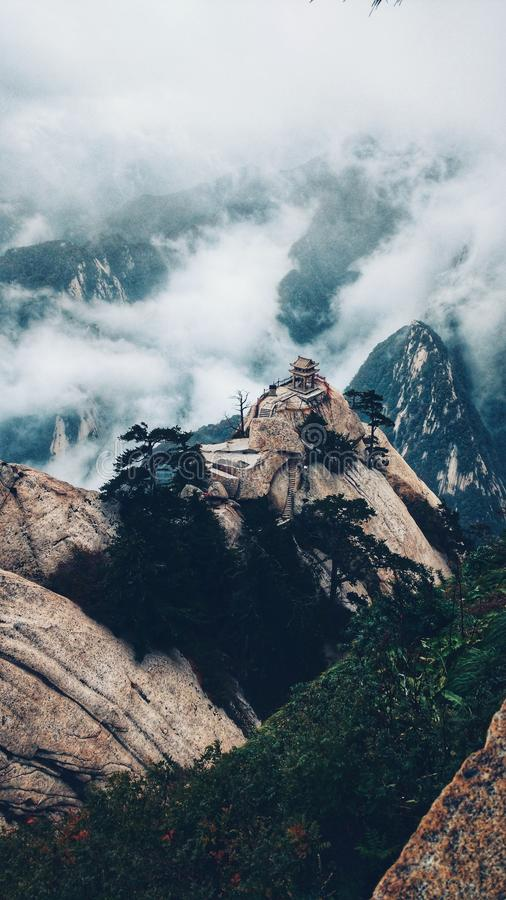 Finding peace into the cloud temple royalty free stock photos