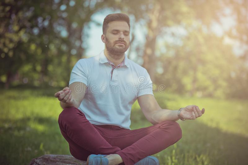 Finding peace stock photography