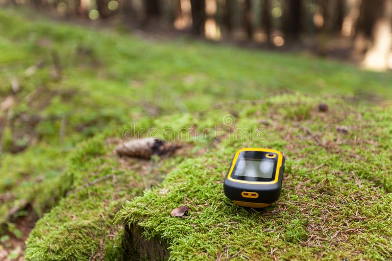 Finding the right position in the forest with a gps stock photography