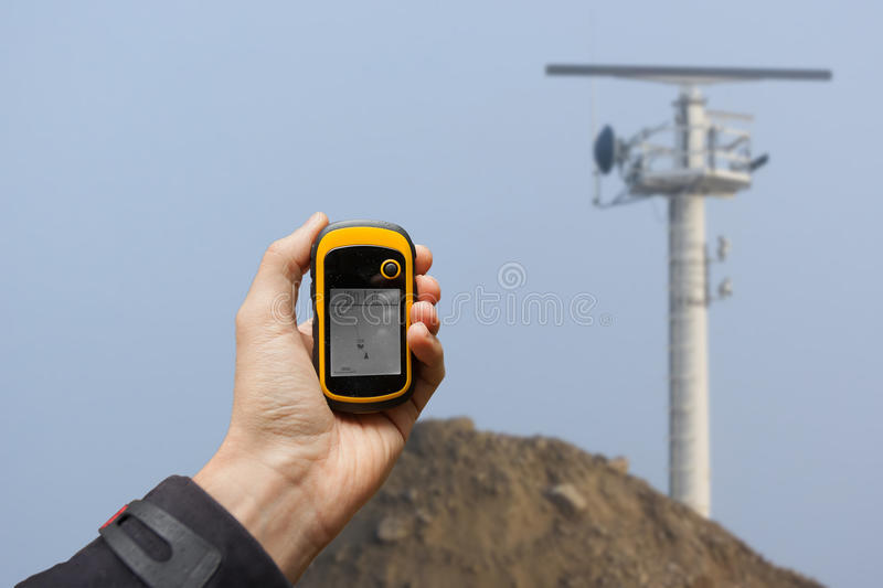 Finding the right position inside a construction site via gps ( stock photos