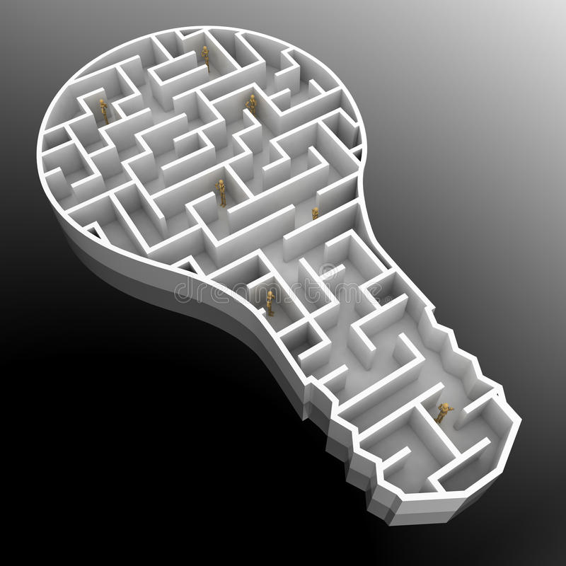 Finding solution. Group of mannequins trying to find a solution in a light bulb shaped maze stock illustration