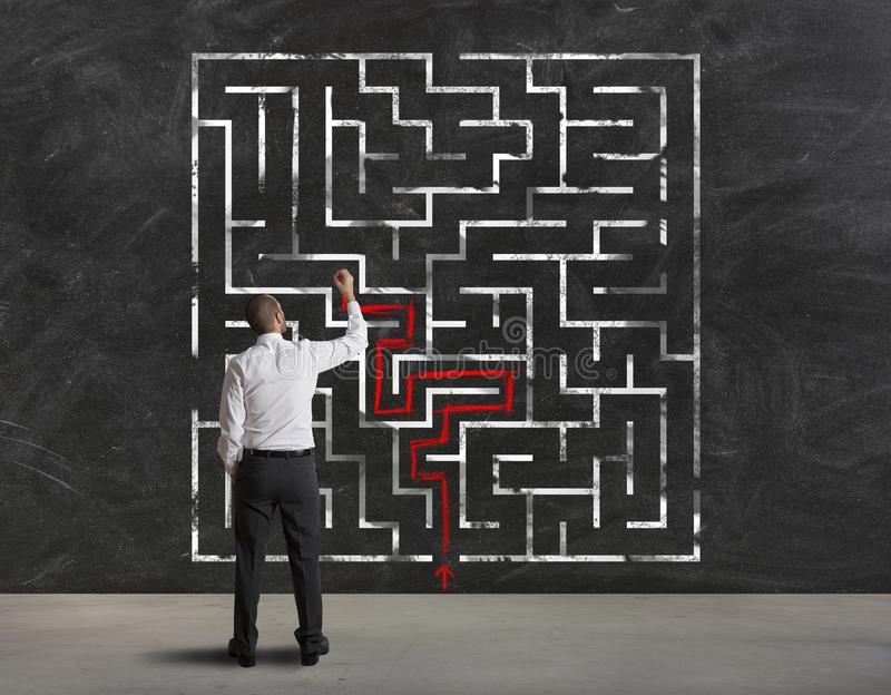 Finding the solution of maze stock image