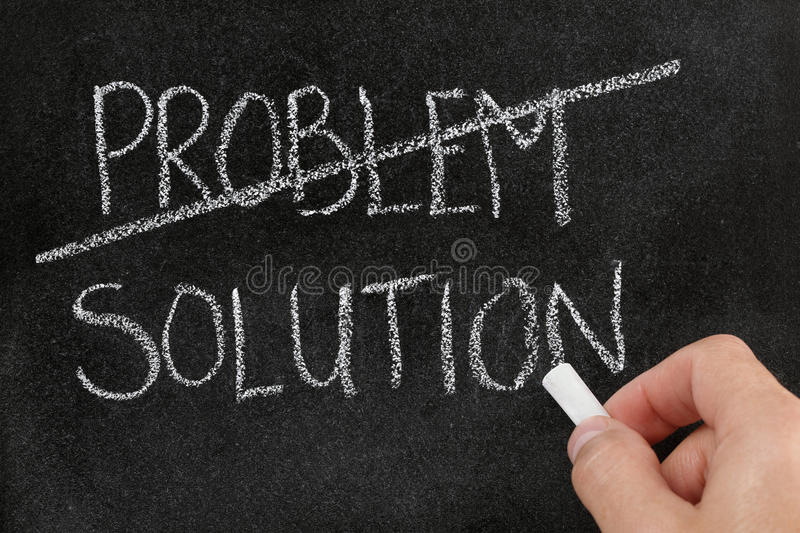 Finding solution for problem. Crossing out the word problem and writing solution on blackboard stock photos