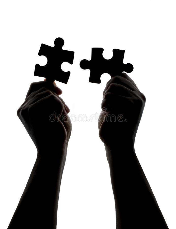 Finding Solution Puzzle Silhouette royalty free stock image