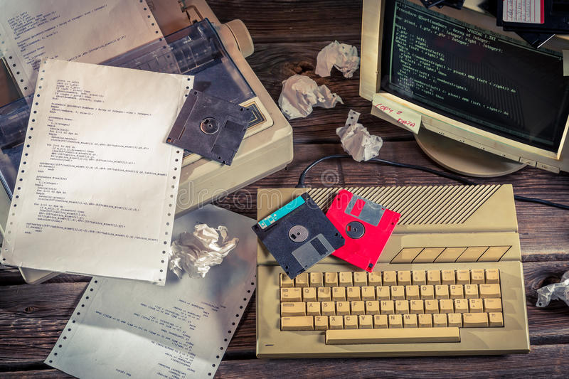 Finding solutions algorithm of programming languages. Retro style stock photography